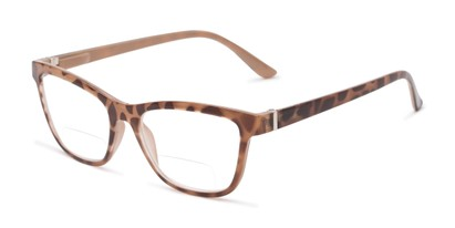 Angle of The Eiffel Bifocal in Glossy Tortoise, Women's Cat Eye Reading Glasses