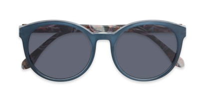 Folded of The Eileen Reading Sunglasses in Blue/Paisley with Smoke
