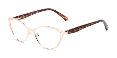 Angle of The Electra in Rose Gold/Brown Tortoise, Women's Cat Eye Reading Glasses
