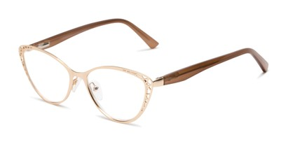 Angle of The Electra in Matte Gold/Brown, Women's Cat Eye Reading Glasses