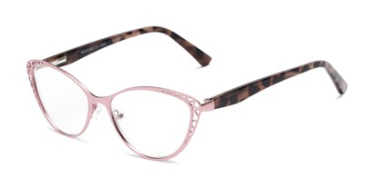 Angle of The Electra in Pink/Pink Tortoise, Women's Cat Eye Reading Glasses