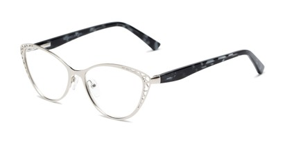 Angle of The Electra in Silver/Black Tortoise, Women's Cat Eye Reading Glasses