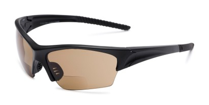 Angle of The Elijah Bifocal Reading Sunglasses in Black with Amber, Men's Sport & Wrap-Around Reading Sunglasses
