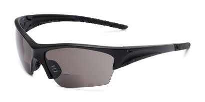 Angle of The Elijah Bifocal Reading Sunglasses in Black with Smoke, Men's Sport & Wrap-Around Reading Sunglasses
