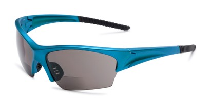 Angle of The Elijah Bifocal Reading Sunglasses in Blue with Smoke, Men's Sport & Wrap-Around Reading Sunglasses