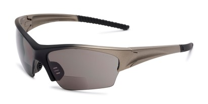 Angle of The Elijah Bifocal Reading Sunglasses in Grey with Smoke, Men's Sport & Wrap-Around Reading Sunglasses