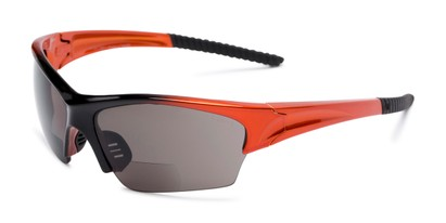 Angle of The Elijah Bifocal Reading Sunglasses in Orange with Smoke, Men's Sport & Wrap-Around Reading Sunglasses