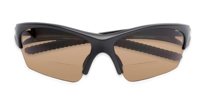 Folded of The Elijah Bifocal Reading Sunglasses in Black with Amber
