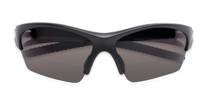 Folded of The Elijah Bifocal Reading Sunglasses in Black with Smoke