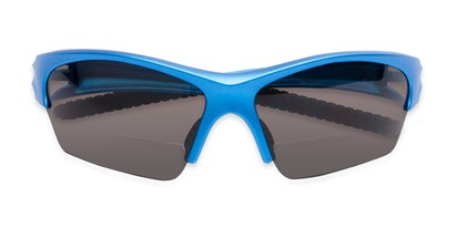 Folded of The Elijah Bifocal Reading Sunglasses in Blue with Smoke
