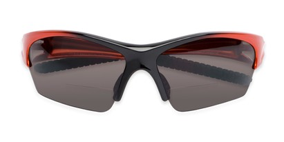 Folded of The Elijah Bifocal Reading Sunglasses in Orange with Smoke