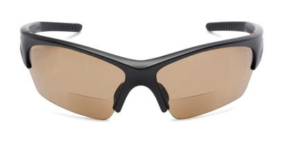 Front of The Elijah Bifocal Reading Sunglasses in Black with Amber