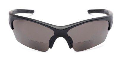 Front of The Elijah Bifocal Reading Sunglasses in Black with Smoke