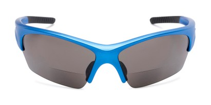 Front of The Elijah Bifocal Reading Sunglasses in Blue with Smoke