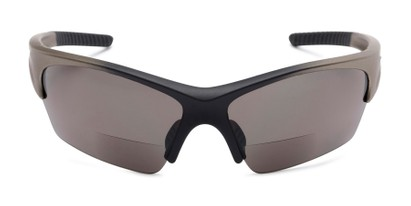 Front of The Elijah Bifocal Reading Sunglasses in Grey with Smoke