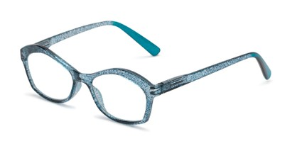 Angle of The Ellie in Teal Blue, Women's Cat Eye Reading Glasses