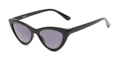Angle of The Elora Reading Sunglasses in Black with Smoke, Women's Cat Eye Reading Sunglasses