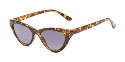 Angle of The Elora Reading Sunglasses in Brown Tortoise with Smoke, Women's Cat Eye Reading Sunglasses