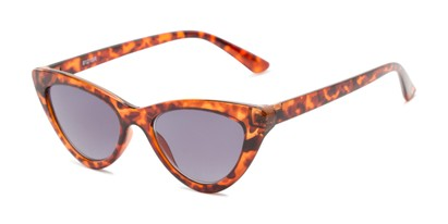 Angle of The Elora Reading Sunglasses in Orange Tortoise with Smoke, Women's Cat Eye Reading Sunglasses