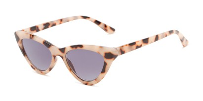 Angle of The Elora Reading Sunglasses in Tan Tortoise with Smoke, Women's Cat Eye Reading Sunglasses