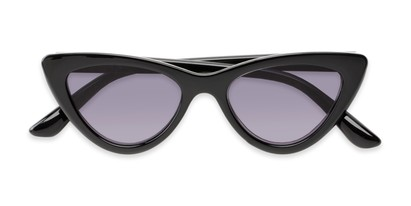 Folded of The Elora Reading Sunglasses in Black with Smoke
