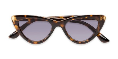 Folded of The Elora Reading Sunglasses in Brown Tortoise with Smoke