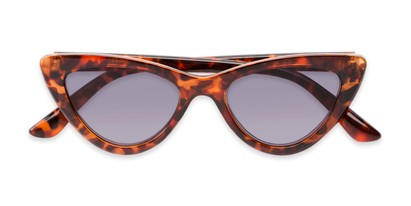 Folded of The Elora Reading Sunglasses in Orange Tortoise with Smoke