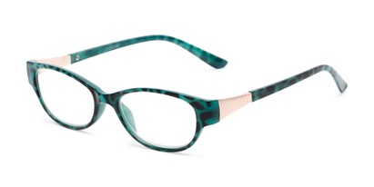 Angle of The Elsie in Teal, Women's Cat Eye Reading Glasses