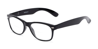 Angle of The Elwood Bifocal in Black, Women's and Men's Retro Square Reading Glasses