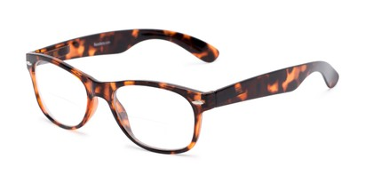 Angle of The Elwood Bifocal in Brown Tortoise, Women's and Men's Retro Square Reading Glasses