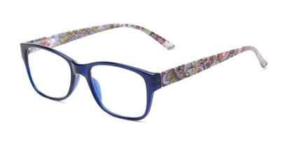 Angle of The Emily in Blue/Paisley, Women's Rectangle Reading Glasses