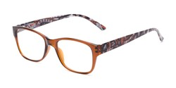 Angle of The Emily in Brown/Paisley, Women's Rectangle Reading Glasses