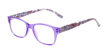 Angle of The Emily in Purple/Paisley, Women's Rectangle Reading Glasses