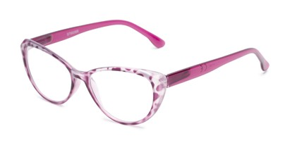 Angle of The Ethel in Purple Leopard, Women's Cat Eye Reading Glasses