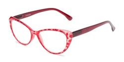 Angle of The Ethel in Red Leopard, Women's Cat Eye Reading Glasses