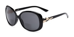 Angle of The Evelyn Bifocal Reading Sunglasses in Black with Smoke, Women's Square Reading Sunglasses