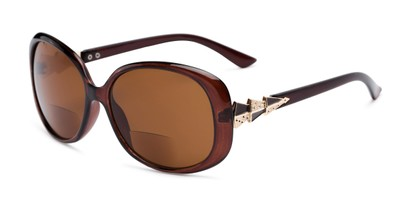 Angle of The Evelyn Bifocal Reading Sunglasses in Brown with Amber, Women's Square Reading Sunglasses
