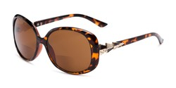 Angle of The Evelyn Bifocal Reading Sunglasses in Tortoise with Amber, Women's Square Reading Sunglasses