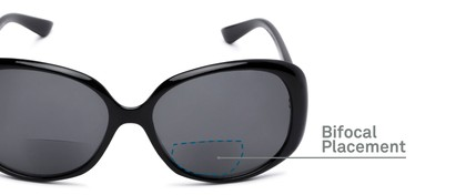 Detail of The Evelyn Bifocal Reading Sunglasses in Black with Smoke