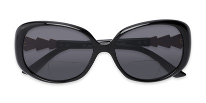Folded of The Evelyn Bifocal Reading Sunglasses in Black with Smoke