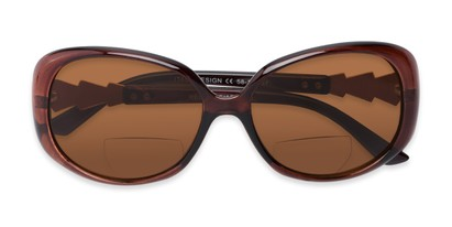 Folded of The Evelyn Bifocal Reading Sunglasses in Brown with Amber