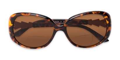 Folded of The Evelyn Bifocal Reading Sunglasses in Tortoise with Amber