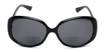 Front of The Evelyn Bifocal Reading Sunglasses in Black with Smoke