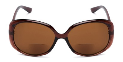Front of The Evelyn Bifocal Reading Sunglasses in Brown with Amber