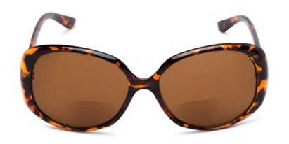 Front of The Evelyn Bifocal Reading Sunglasses in Tortoise with Amber