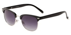 Angle of The Everglade Bifocal Reading Sunglasses in Black with Smoke, Women's and Men's Browline Reading Sunglasses