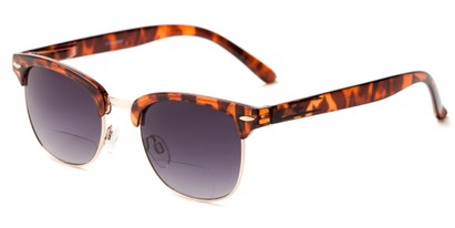 Angle of The Everglade Bifocal Reading Sunglasses in Tortoise with Smoke, Women's and Men's Browline Reading Sunglasses
