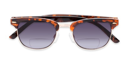Folded of The Everglade Bifocal Reading Sunglasses in Tortoise with Smoke