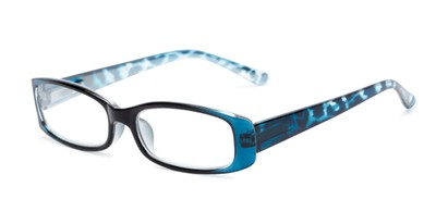 Angle of The Everly in Blue, Women's Rectangle Reading Glasses
