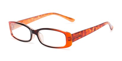 Angle of The Everly in Orange, Women's Rectangle Reading Glasses
